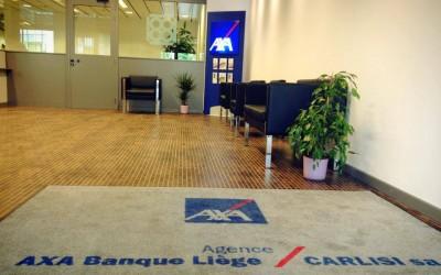Tapis de sol personnalisé pour l'agence AXA à Liège